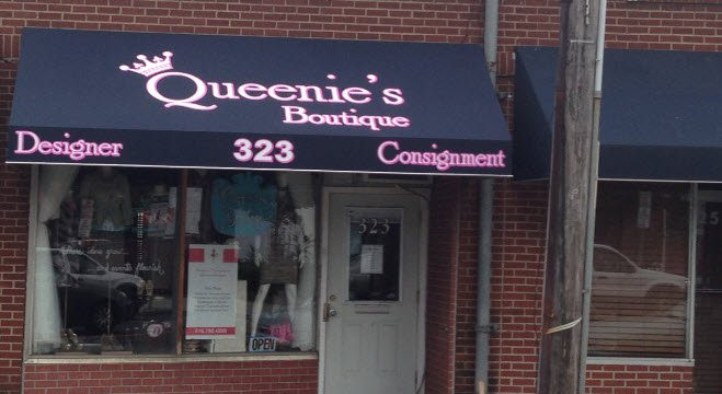 queenie's boutique storefront awning